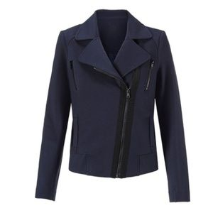 Cabi Chance Jacket Navy Asymmetrical Zip Blazer S